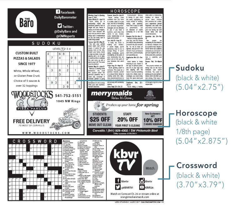 Puzzle and horoscope ad sizes